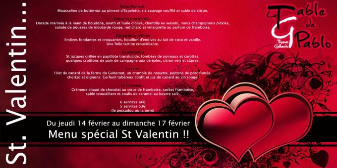 Menu Saint Valentin !